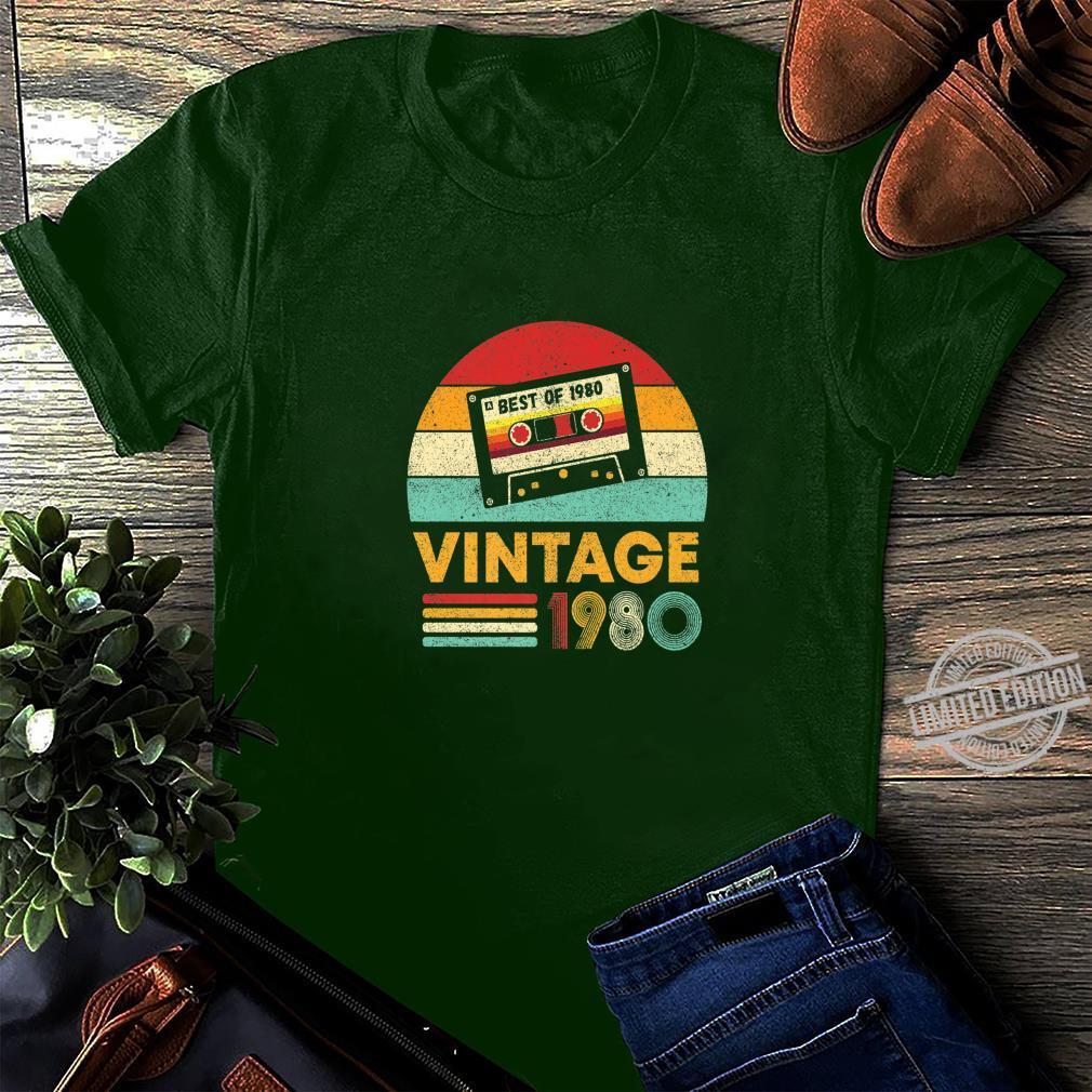 Vintage Made In 1980 40th Birthday 40 Years Old Cassette T-Shirt Sweatshirt Hoodie Tank Top For Men Women Kids