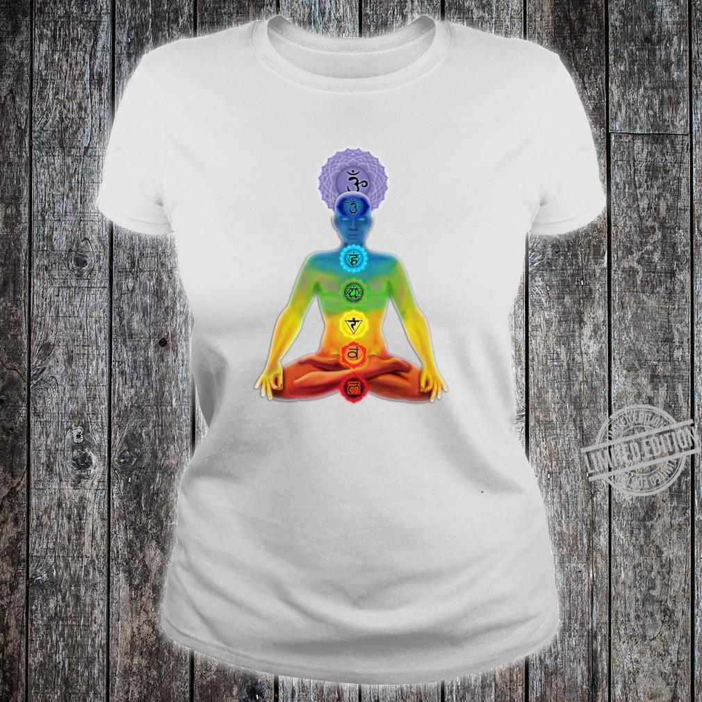 The illuminated man with chakras in the lotus position Shirt ladies tee
